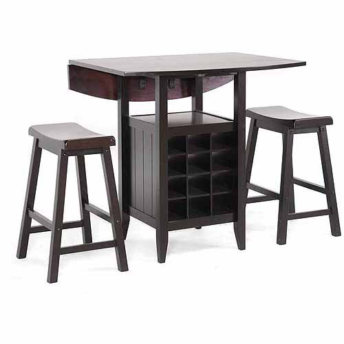 Wholesale Interiors Reynolds Wood 3-Piece Modern Drop-Leaf Pub Set with Wine Rack, Dark Brown