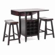 Wholesale Interiors Reynolds Wood 3-Piece Modern Drop-Leaf Pub Set with Wine Rack, Dark Brown by Generic