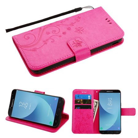 Phone Case for Samsung Galaxy J7 (2018), J737, J7 V 2nd Gen, J7 Refine - Pattern Flip Wallet Case Cover Stand Pouch Book Magnetic Buckle with Hand Strap 3D Butterfly Flower - Hot Pink