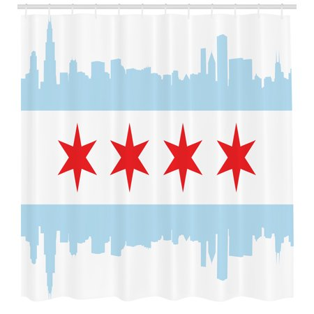 Rise Against Flag - Chicago Skyline Shower Curtain, City of Chicago Flag with High Rise Buildings Scenery National, Fabric Bathroom Set with Hooks, 69W X 75L Inches Long, Red White Baby Blue, by Ambesonne