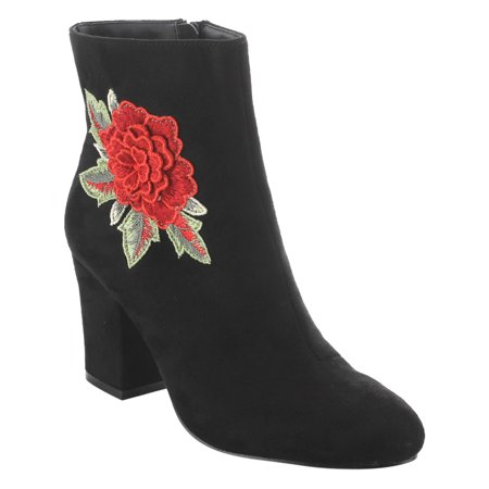 EK58 Women's Side Zipper Block Heel Ankle High Embroidered Booties