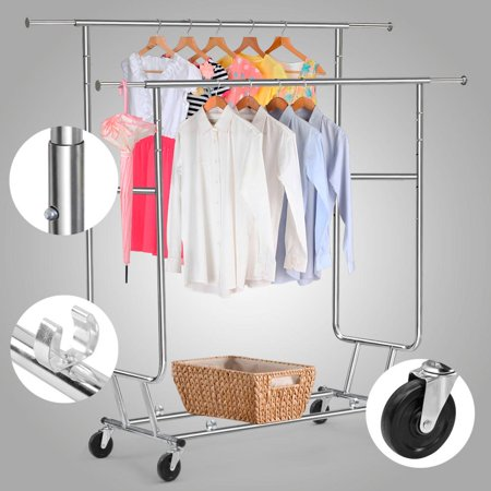Yaheetech Commercial Grade Garment Rack Rolling Collapsible Rack Hanger Holder Heavy Duty Double Rail Clothes Rack Extensible Clothes Hanging Rack 2 Omni-directional casters with brake,250lb (Heavy Duty Collapsible)