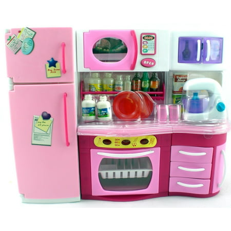 Pink Kitchen With Blender, Over, Fridge, Micro Wave Barbie Size, Barbie size furniture By GIRL FUN TOYS](Fun Toys For 10 Year Old Girls)