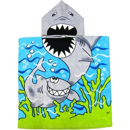Kreative Kid Kids Unisex Blue Shark Poncho Hooded Bath & Beach Towel - Swim Poncho Towel