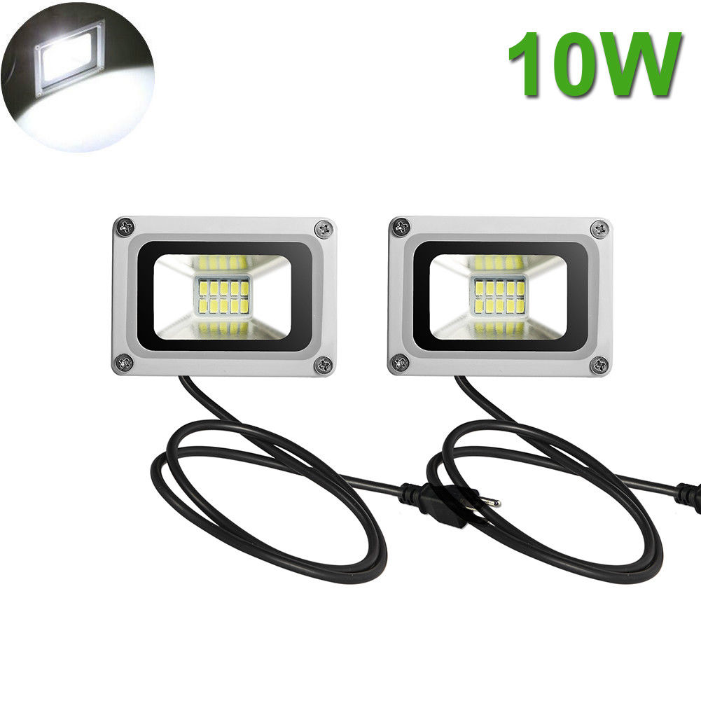 2X 10W LED Flood Light Cool White Outdoor Security Spot Lamp Waterproof US Plug