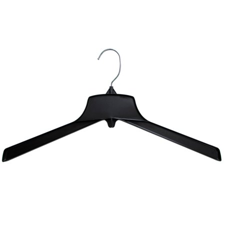 Hanger Central Recycled Black Heavy Duty Plastic Outerwear Hangers with Short Polished Metal Swivel Hooks, 19 Inch, 50