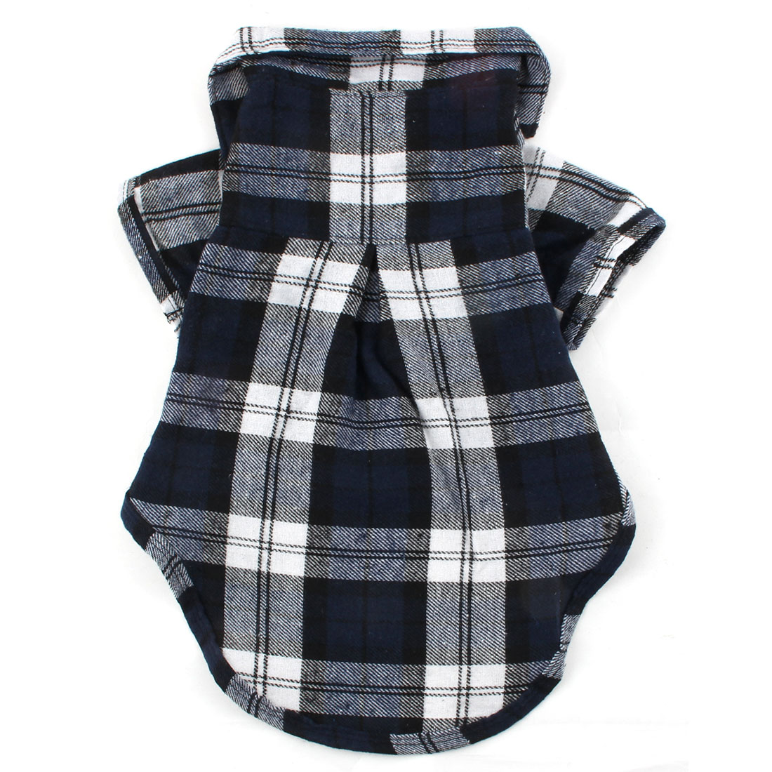 Pet Dog Cat Cotton Blend Plaid Pattern T-Shirt Lapel Vest Clothes Blue Size M