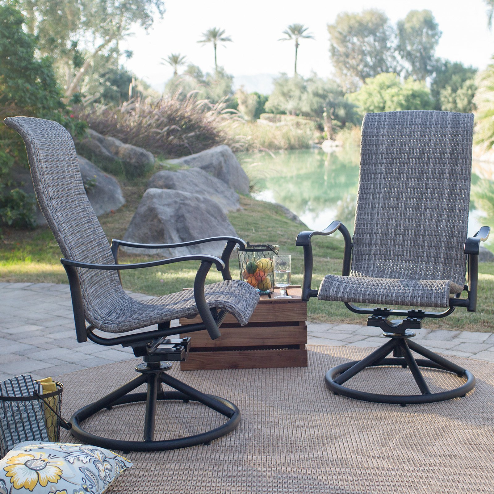Belham Living Charter All Weather Wicker Outdoor Swivel Rocker   Gray   Set  Of 2