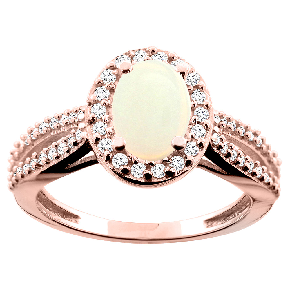 10K WhiteYellowRose Gold Natural Opal Ring Oval 8x6mm Diamond