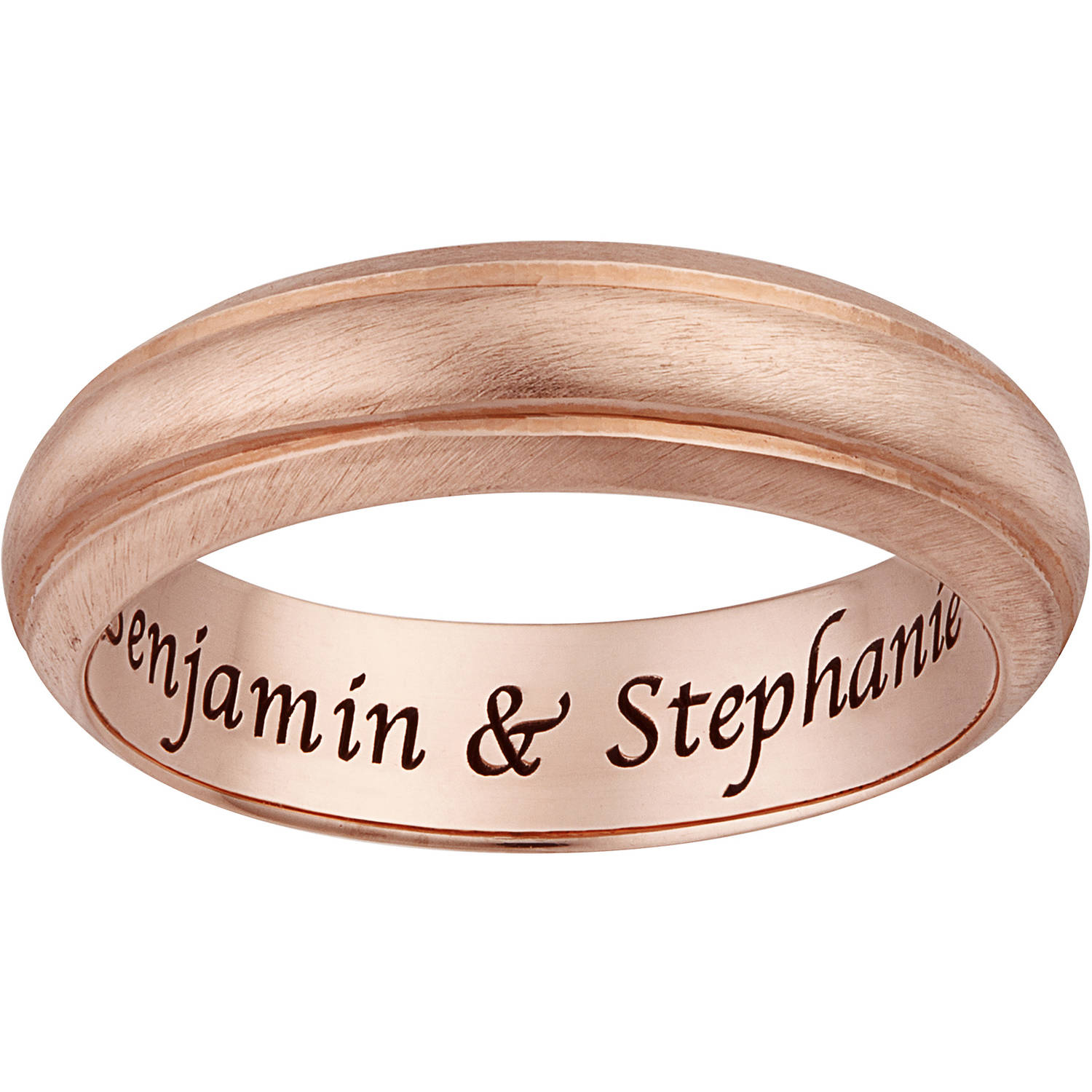 Personalized Rose Gold over Sterling Silver Inside Engraved Satin Band