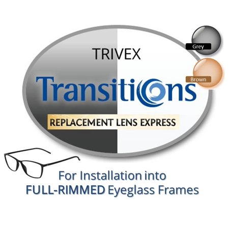 (Single Vision Transitions Trivex Prescription Eyeglass Lenses, Left and Right (One Pair), for installation into your own Full-Rimmed Frames, Anti-Scratch Coating Included)