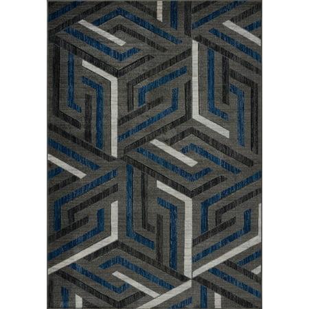 Beautiful Super Soft Modern Indoor Vincenza Collection Area Rug Carpet for Bedroom Living Room Dining Room in Dark Grey-Dark Blue, 4x6 (3'11