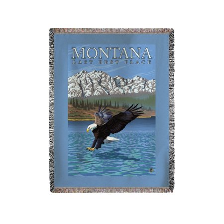 Montana  Last Best Place   Fishing Eagle   Lantern Press Original Poster  60X80 Woven Chenille Yarn Blanket