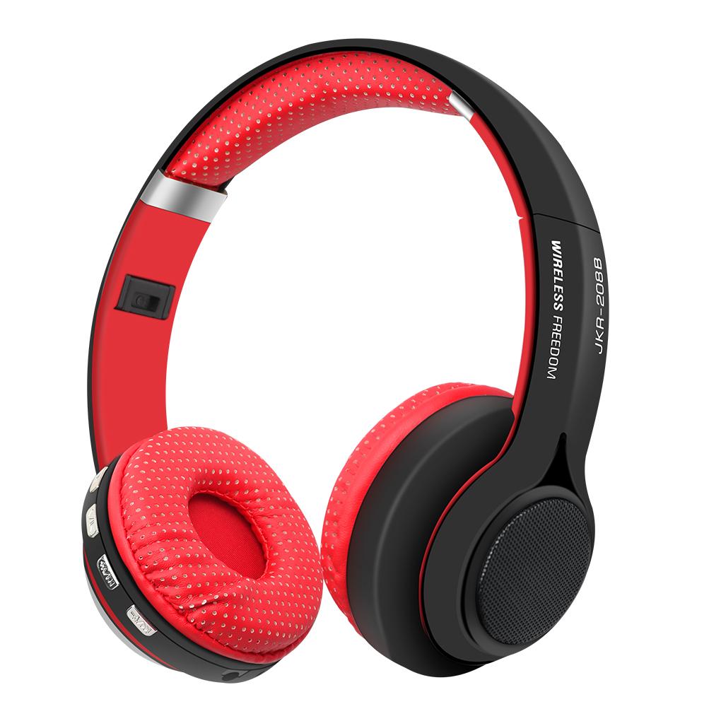 Wireless Bluetooth Headset Over-ear Telephone Earpiece Headphone with Mic FM Radio Audio Holder JKR-208B