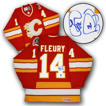 AJ Sports World FLET132000 THEO FLEURY Calgary Flames SIGNED 1989 Stanley Cup JERSEY by