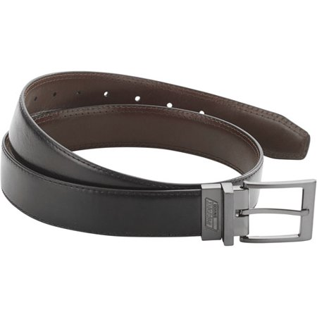 Men's Genuine Leather Reversible Work Belt with Stictching Detail and Gunmetal (Flag Pewter Belt Buckle)