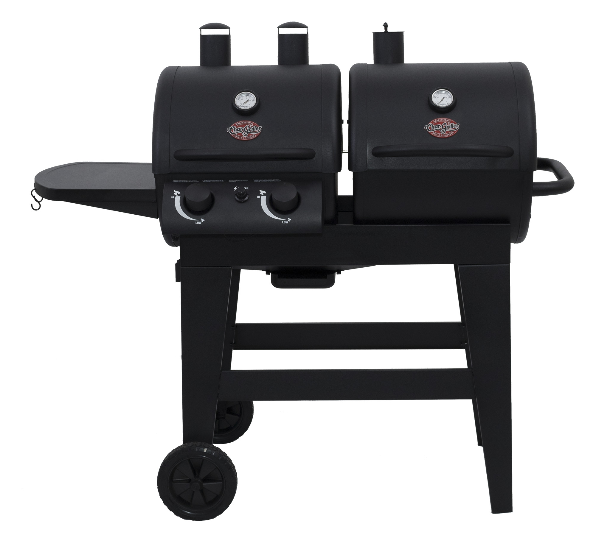 Char-Griller Dual 2 Burner Charcoal & Gas Grill, Black, E5030 by A & J Manufacturing