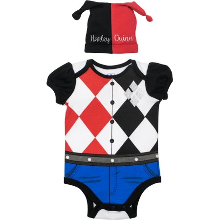Suicide Squad Harley Quinn Baby Girls' Costume Bodysuit and Hat, Black and Red (6-9 Months)](Harley Quinn Onesie)