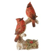 """8.5"""" In the Birches Glittered Two Red Cardinal Birds on a Holly Branch Christmas Table Top Figure"""