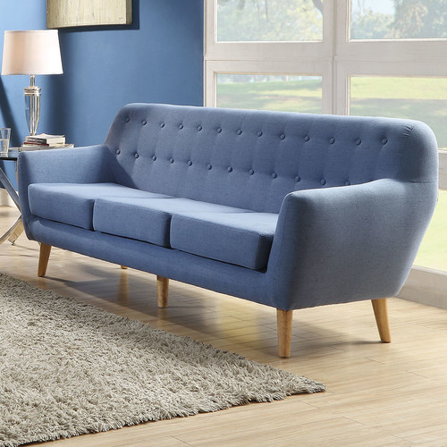 ACME Ngaio Midcentury Sofa In Blue Linen Upholstery