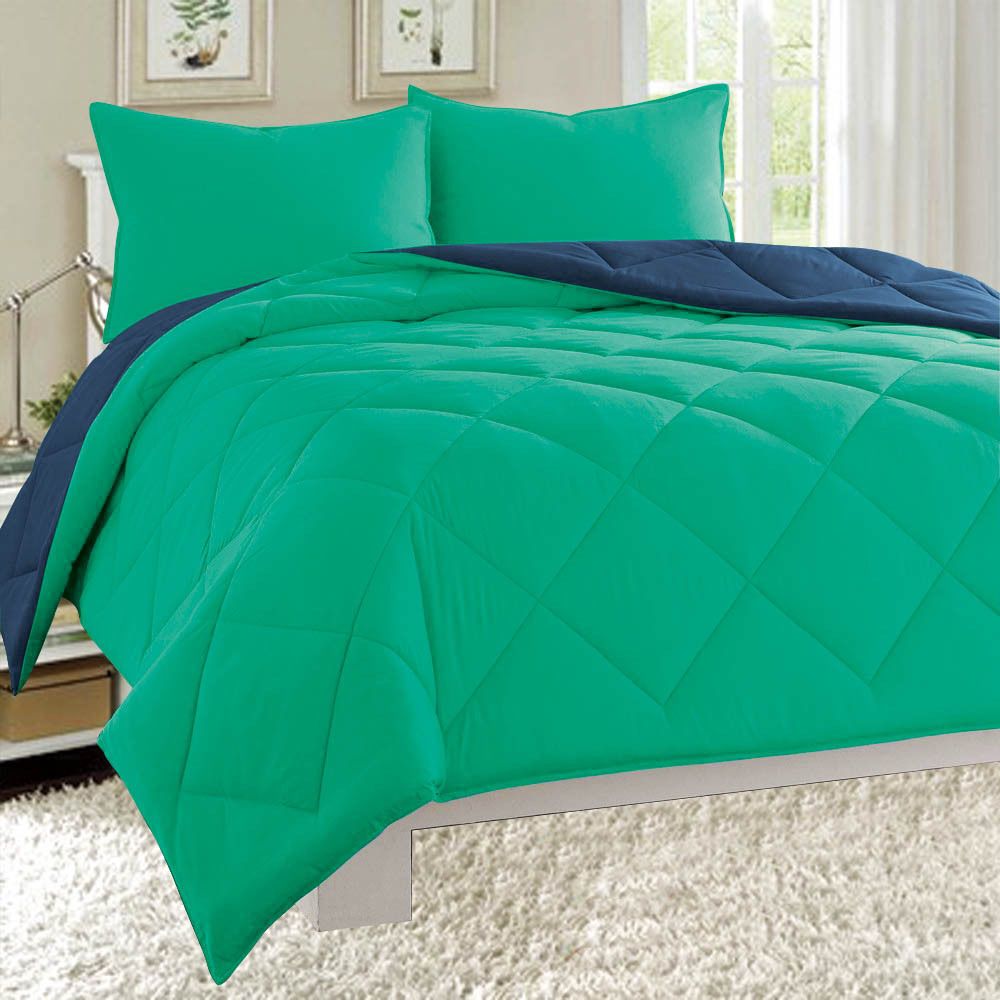 Dayton Full Size 3-Piece Reversible Comforter Set Soft Brushed Microfiber Quilted Bed Cover Turquoise & Navy