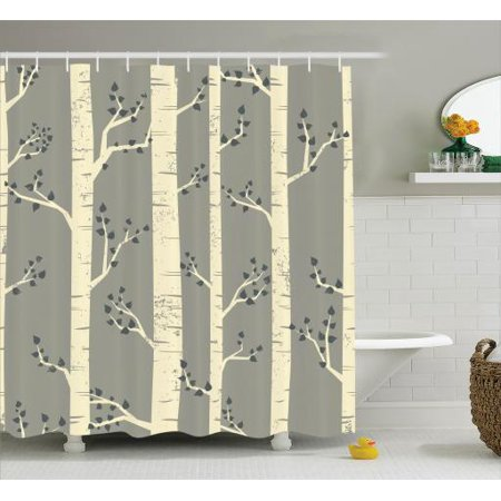 Gray Shower Curtain Set Elegant Birch Tree Branches Vintage Style Contemporary Illustration Of Nature Boho