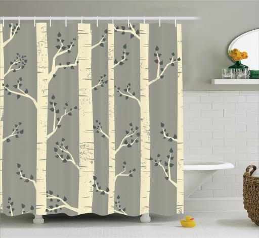 Gray Shower Curtain Set, Elegant Birch Tree Branches Vintage Style  Contemporary Illustration Of Nature Boho