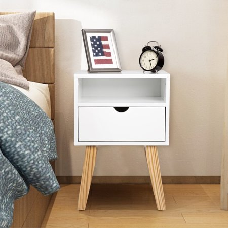Kinbor Side End Table Nightstand Bedroom Living Room Table Cabinet Drawer Storage Mid Century Accent Wood Furniture White Wooden