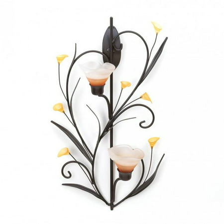 - AMBER LILIES CANDLE WALL SCONCE
