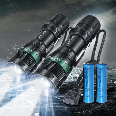 2-Pack T6 LED 2000 Lumens Zoom Adjustable Focus 3 Modes Flashlight Torch Lamp Light Bright for Camping Hiking