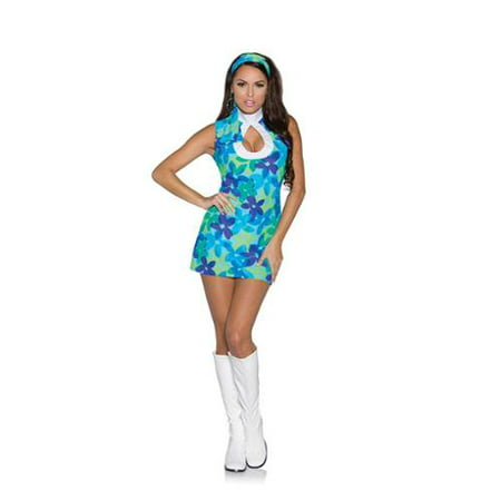 Adult Female 60's Flower Power Mini Dress Costume by Underwraps Costumes 29626, Extra (60's Flower Power Fancy Dress Costume)