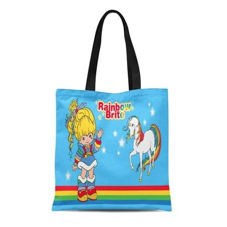 Rainbow Horses Tote (ASHLEIGH Canvas Tote Bag Colorful Love Classic Rainbow Brite Starlight Horse 80S Cartoon Reusable Handbag Shoulder Grocery Shopping Bags)