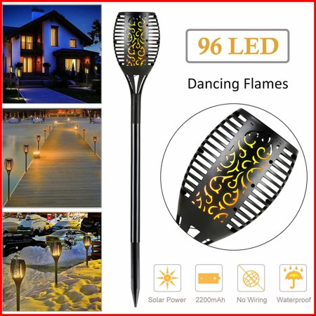 96 LED 3-Lighting Modes Solar Torch Light Dancing Flickering Flame Lamp 2 Pack