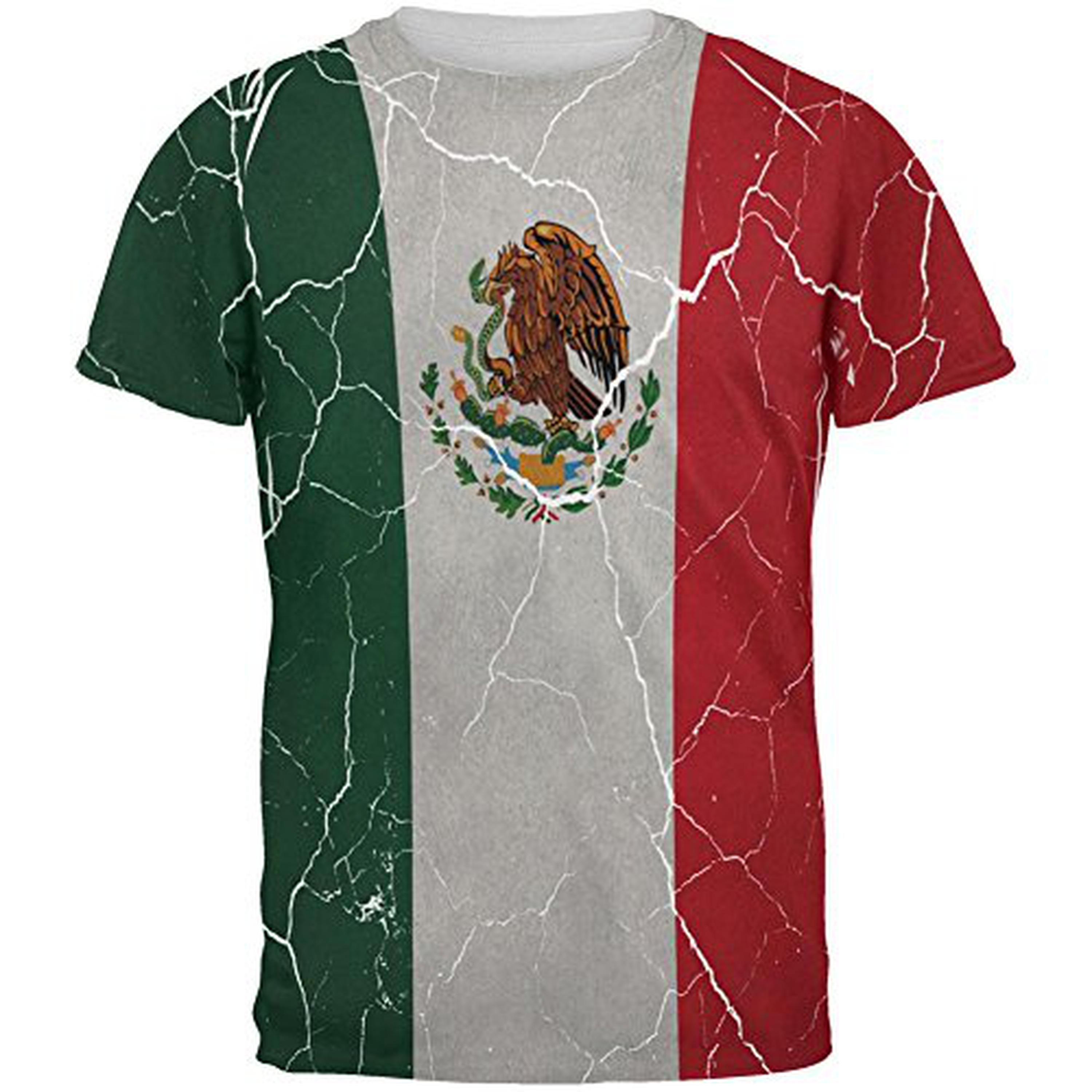 Cinco De Mayo Distressed Mexican Flag All Over Mens T Shirt