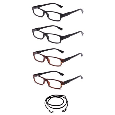 4 Pair Newbee Fashion Simple Comfortable Light Weight Fashion Reading Glasses with Spring Hinges, 2 Black & 2 Tortoise, (Tortoise With Glasses)