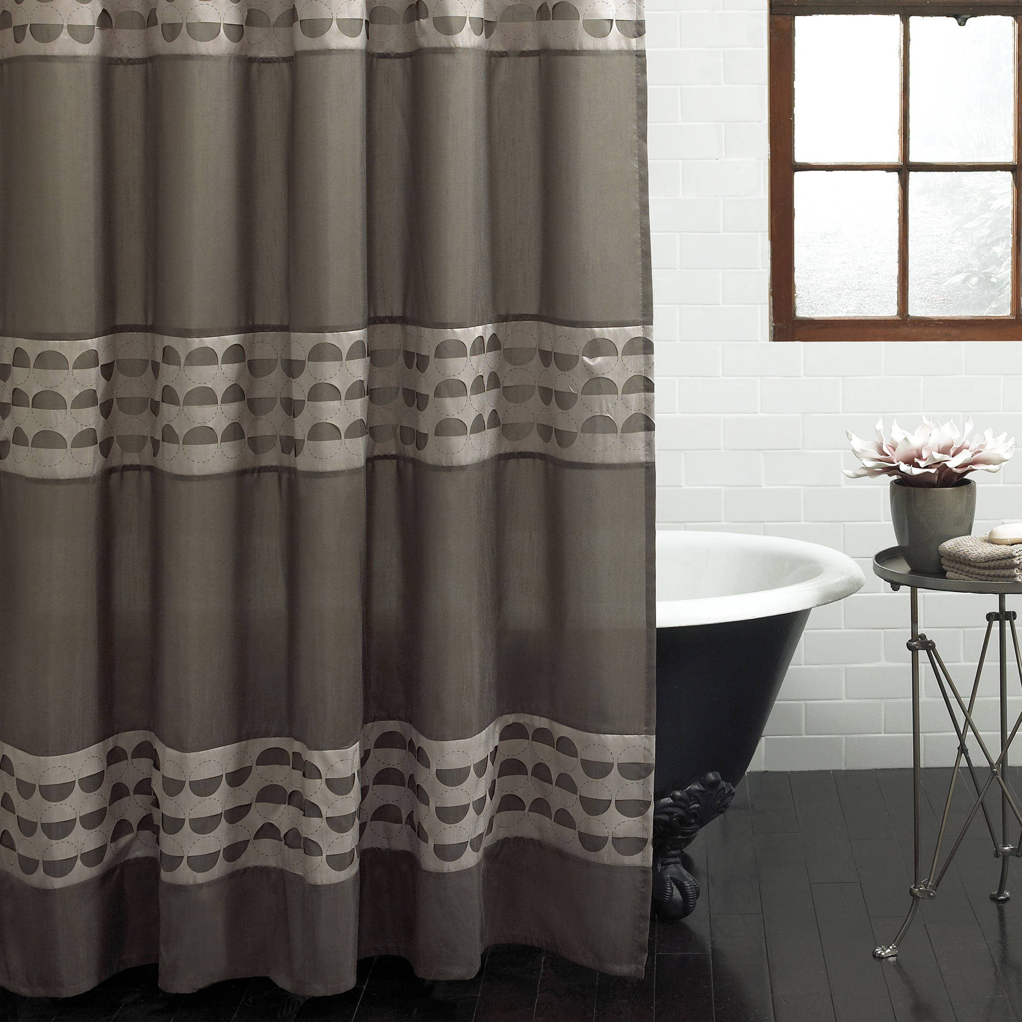 "Excell Piper 70"" x 72"" Fabric Shower Curtain, Taupe"