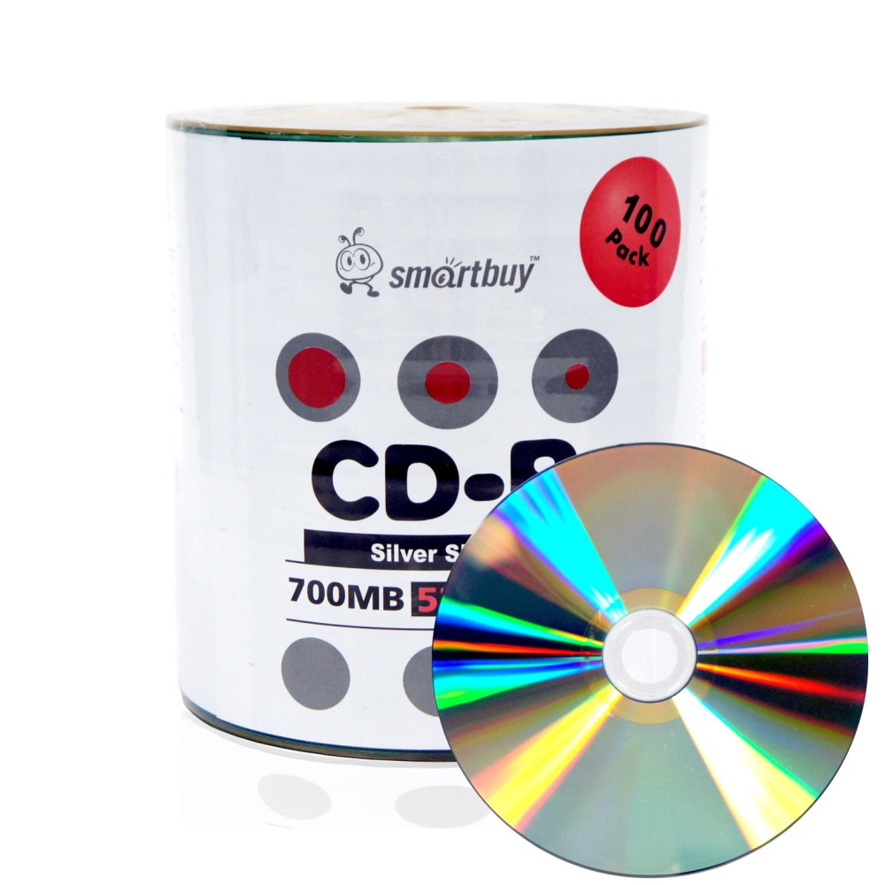 100 Pack Smartbuy 52X CD-R 700MB 80Min Shiny Silver (Non-Printable) Data Blank Media Recordable Disc