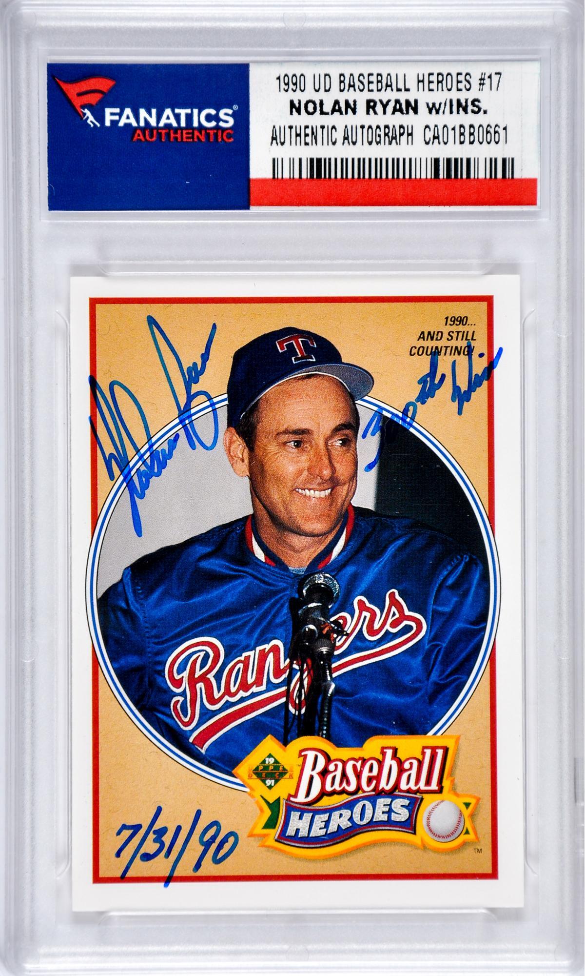 Nolan Ryan Texas Rangers Autographed 1990 Baseball Heroes