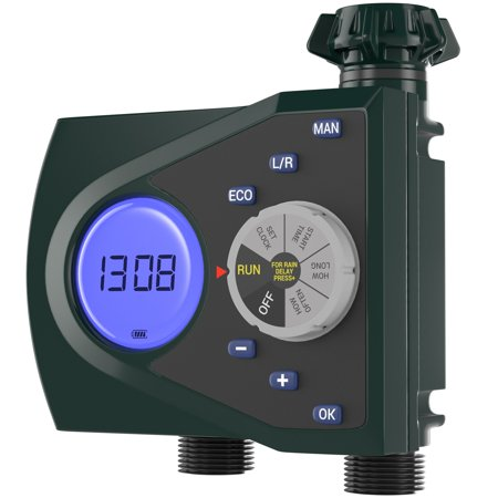 - Gideon Dual Valve Digital Water Timer Manual Watering and Rain Delay