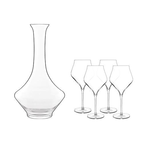 """Luigi Bormioli Supremo Decanter 0.75 L with 4 Burgundy Glasses Decanter with Burgundy Glasses"" by Luigi Bormioli"