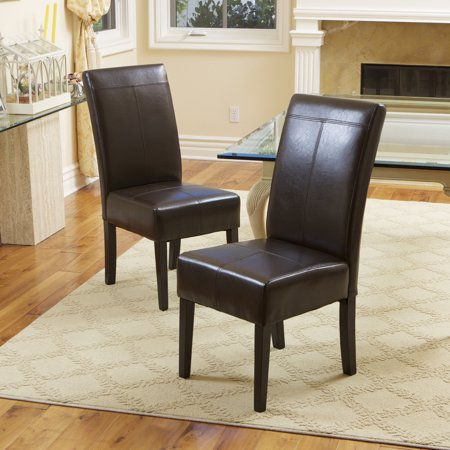 Ketan Bonded Leather Dining Chairs, Set of 2, Chocolate Brown