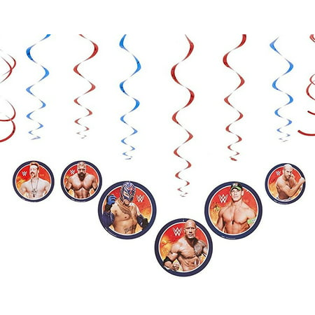 WWE Foil Swirl Hanging Party Decorations, 12pc - Wwe Banner