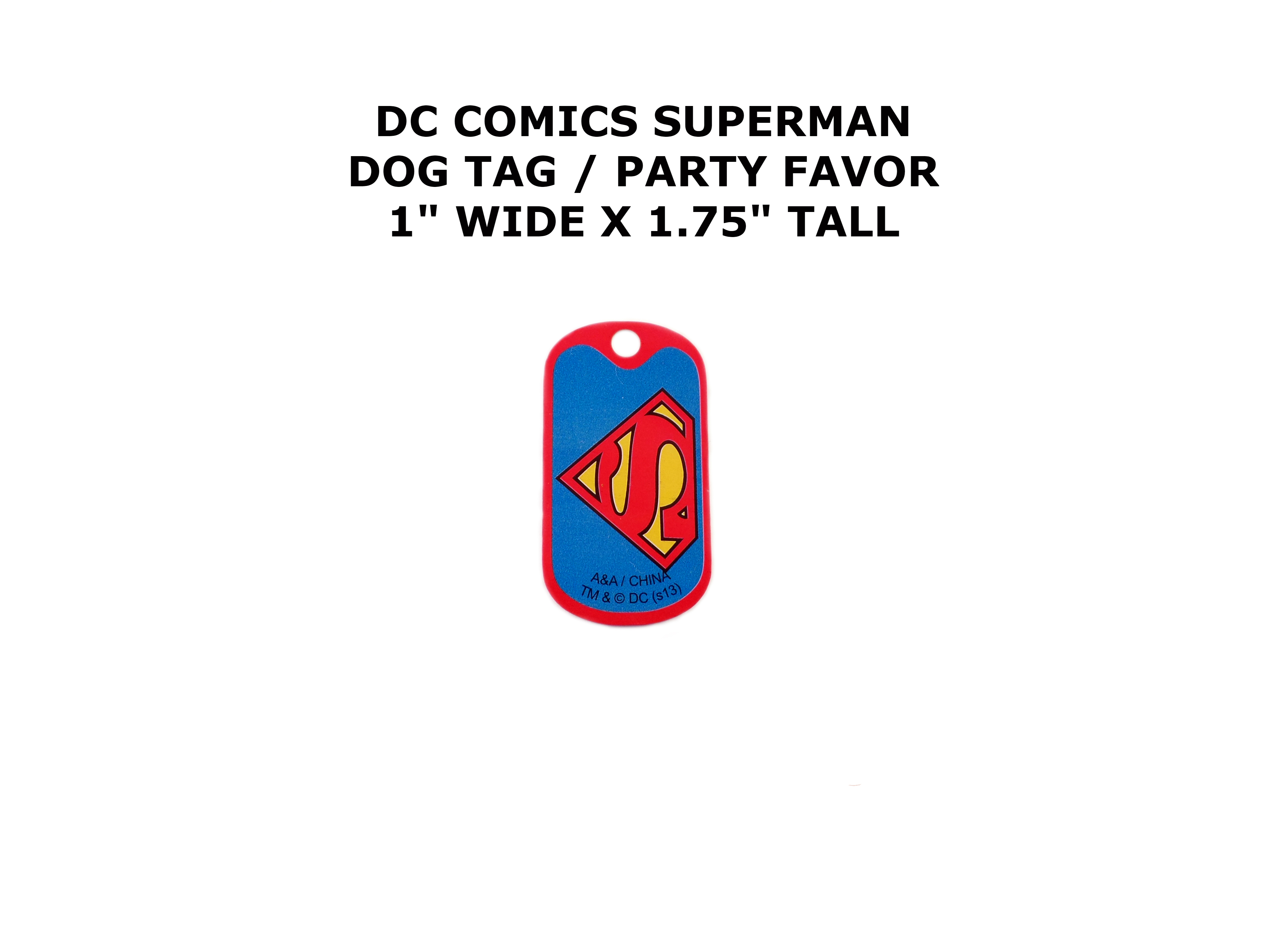 Superman DC Comics Cartoon Theme Logo Dog Tag Necklace Party Favor ...