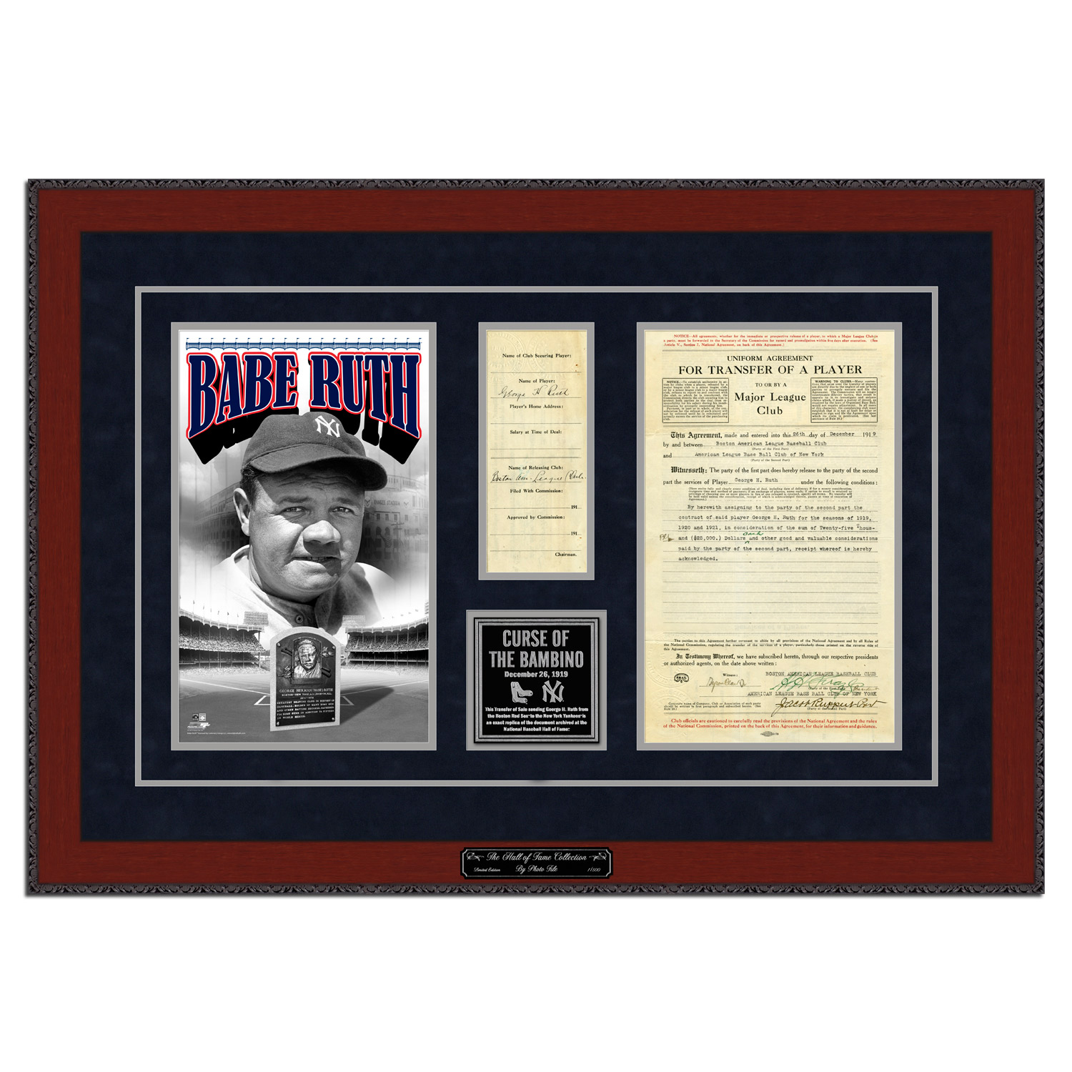 "New York Yankees Babe Ruth 23.5"" x 33.5"" Framed Limited Edition Replica Transfer Contract - No Size"