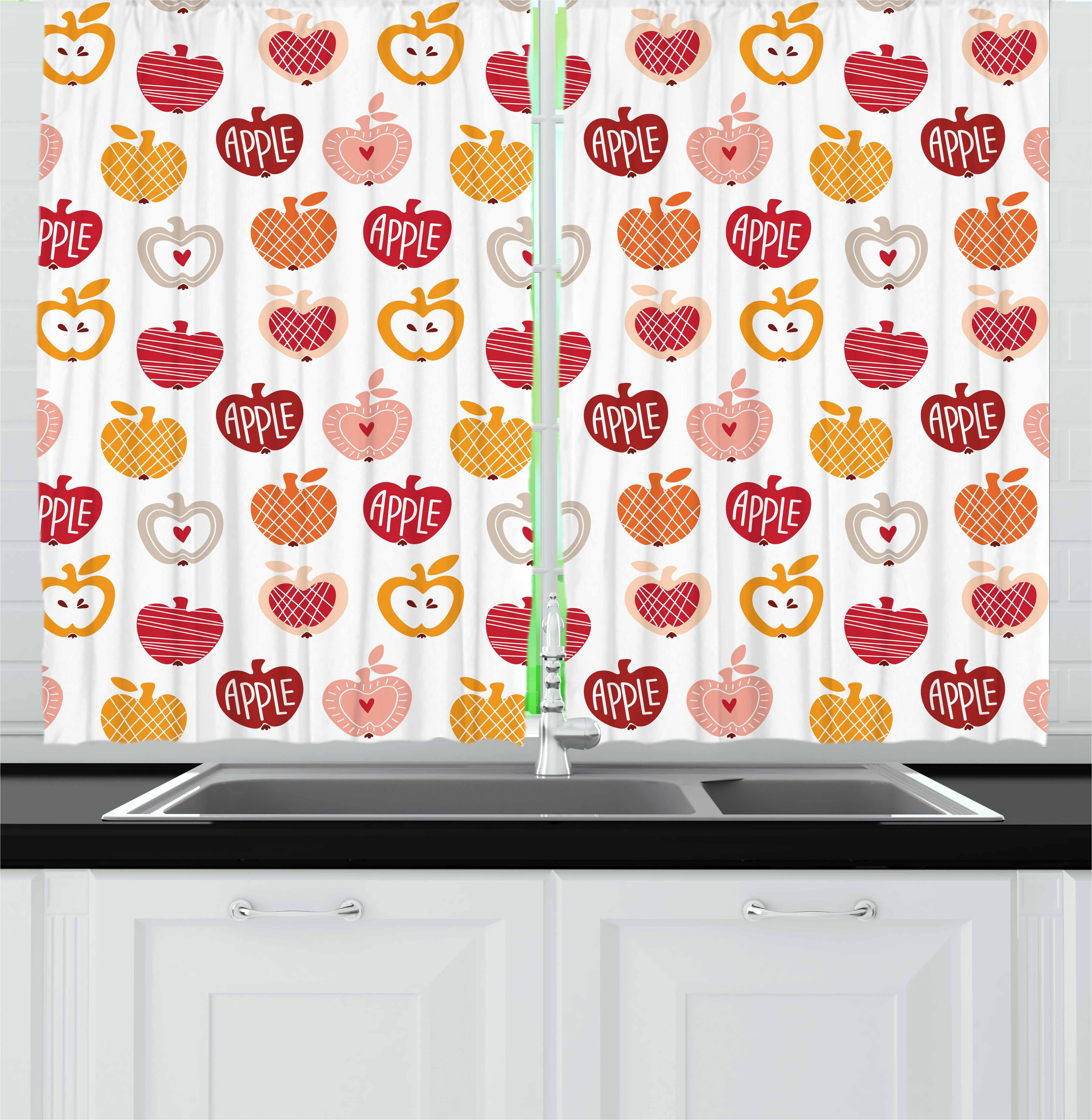 Apple Curtains 2 Panels Set, Vegetarian Abstract Horizontal and Diagonal Line Pattern Love Natural Food Theme, Window Drapes for Living Room Bedroom, 55W X 39L Inches, Amber Blush Red, by Ambesonne