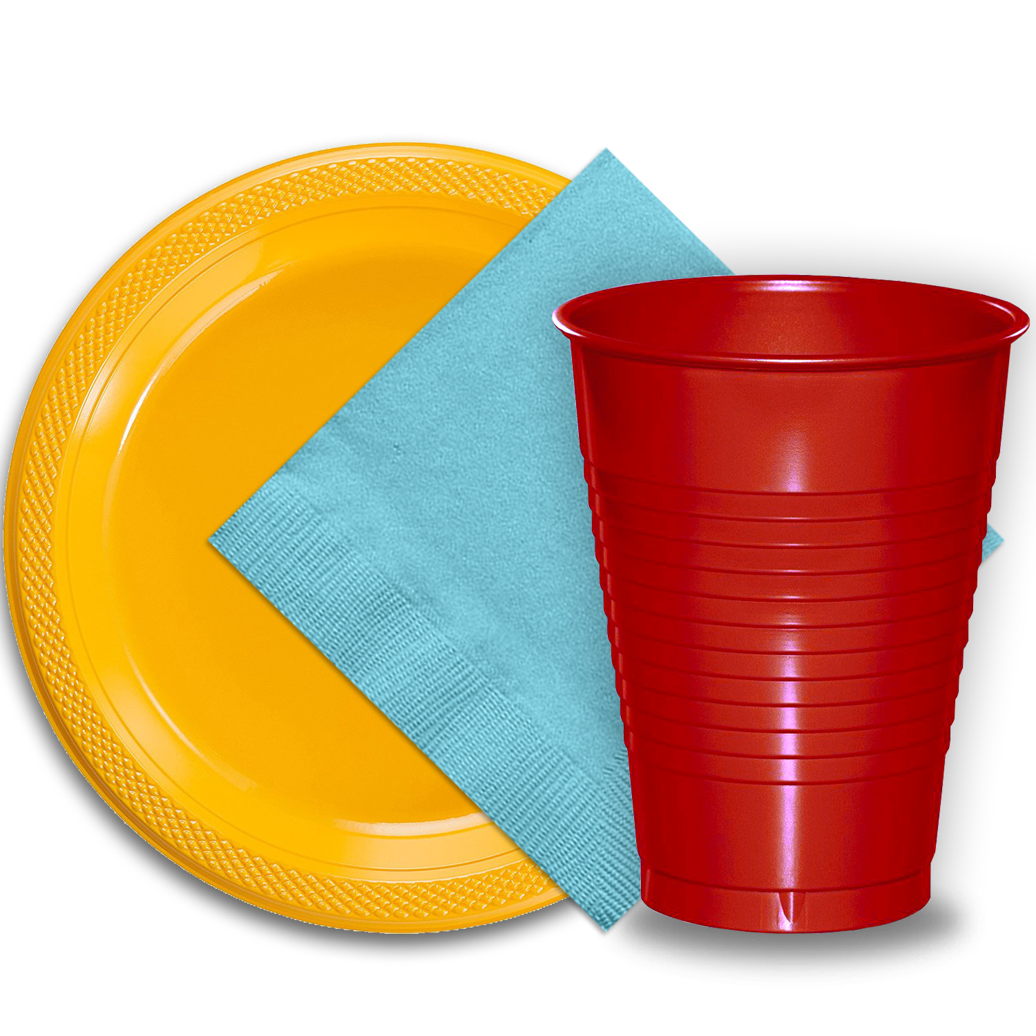 "50 Yellow Plastic Plates (9""), 50 Red Plastic Cups (12 oz.), and 50 Light Blue Paper Napkins, Dazzelling Colored Disposable Party Supplies Tableware Set for Fifty Guests."