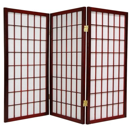 Oriental Furniture 3 Ft Tall Window Pane Shoji Screen, Rosewood color, 3 panels