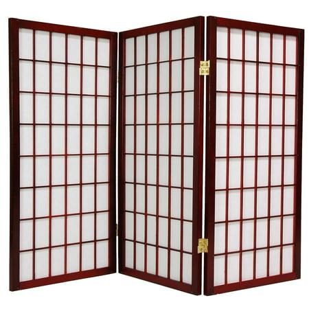 Oriental Furniture 3 Ft Tall Window Pane Shoji Screen, Rosewood color, 3 panels