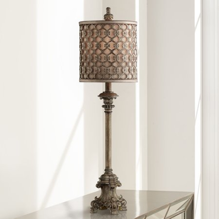 Regency Hill French Buffet Table Lamp Beige Scroll Metal Lattice Candlestick Framed Cylinder Shade for Dining Room
