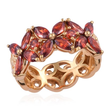Orange Flower Ring - 14K Yellow Gold Plated Flower Ring Marquee Cubic Zircon Orange Gift Jewelry for Women Size 8 Cttw 4
